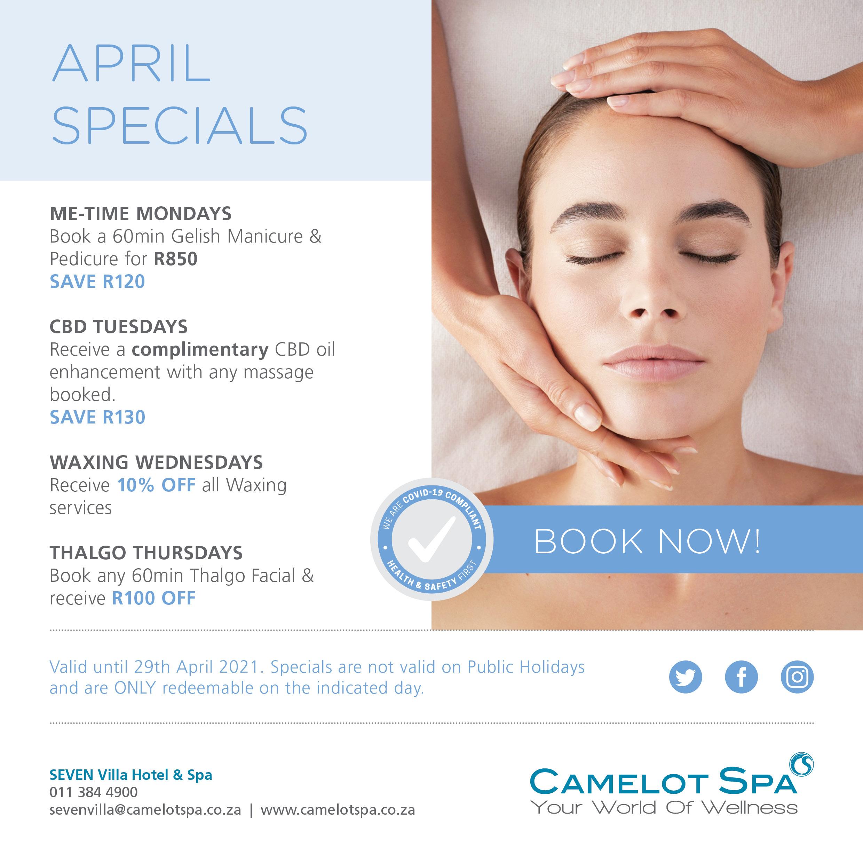 Camelot Spa Seven Villa Specials April 2021